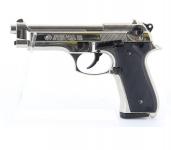Pistolet BERETTA  Nickelé Chrome à blanc  Mod 92  (Réplique) Bruni