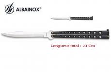 Couteau papillon Noir et Chrome Géant