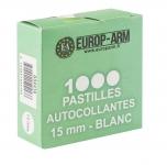 Pastilles autocollantes blanches 15 mm