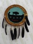 Bouclier Amérindien peint en Rawhide