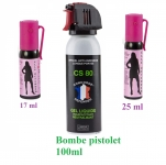 LOT de 3 Bombes Anti-Agression GEL, POIVRE et GAZ