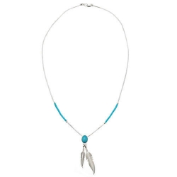 Collier Plumes Cabochon Turquoise