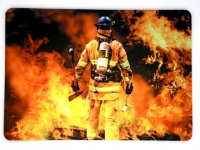 Tapis de souris «Pompier et Flamme »