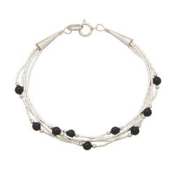 Bracelet 5 Fils Perles de Onyx