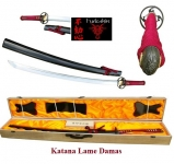 Katana  Lame  DAMAS   Bois rouge et noir