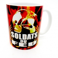 Mug Casque flammes Orange 