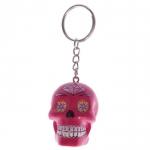 Porte clés crâne Rose  jour des morts mexicain
