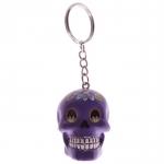 Porte clés crâne Violet   jour des morts mexicain