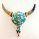 Crane de Vache résine Mosaique et Turquoise