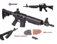 Fusil M4-177  Noir tactical à pompe  Cal 4.5 plomb et Billes Acier