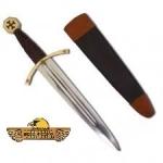 Dague poignard Templier forgée  avec fourreau cuir