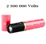 Shocker electrique 2.500 000 Volts Rose forme rouge a lèvre  avec lampe