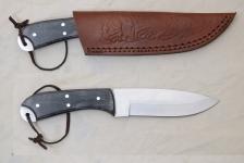 Couteau de chasse  manche bois noir  avec Etui cuir