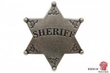 Etoile de shériff Argent vieilli 6 pointes