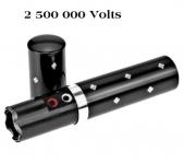 Shocker electrique 2.500 000 Volts Noir forme rouge a lèvre avec lampe