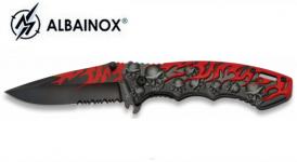 Couteau Pliant skull et flamme rouge   Lame de 8.5 cm