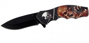 Couteau pliant Skull chocolat