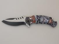 Couteau pliant Tête de mort couronnée   lame de 9 cm
