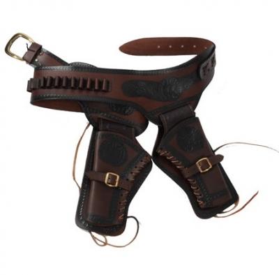 a4a54dbd50d Ceinturon double holster marron pour 2 revolvers western