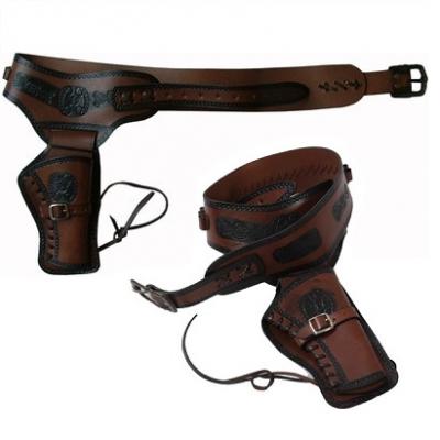 Ceinturon holster marron pour 1 revolver western 955d8df69ab