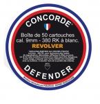 Cartouches de Défense x50  Cal. 9 mm 380 RK REVOLVER