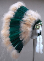 Coiffe indienne Navajo de 36 pouces  Made in USA ( Mod.MEADOW Bleu Vert )