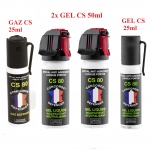 LOT de 4 Bombes Anti-Agression GEL et GAZ