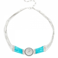Collier 5 Fils Choker Turquoise