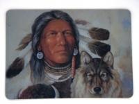 Tapis de souris  « Guerrier indien et Loup »