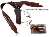Ceinturon holster avec cartouchière (BUSCADERO) Marron