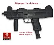 Pistolet automatique de défense à blanc  Réplique UZI  Noir /  EKOL