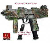 Pistolet automatique de défense à blanc   Réplique UZI  Camo / EKOL