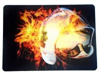 Tapis de souris   « Casque pompier dans flammes »