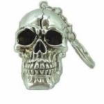 Porte clés  crane argent