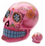 Crane Tirelire jour des mort Mexicain   rose de 20 cm