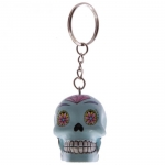 Porte clés crâne Bleu turquoise  jour des morts mexicain