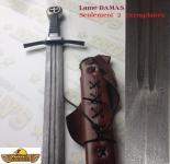 Epée de Frappe Médiévale Lame DAMAS  Pommeau tréflé