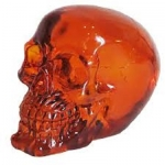 Crâne tête de mort en verre  Translucide Orange