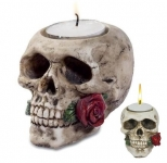 Bougeoir crane tête de mort avec rose
