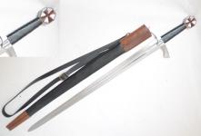 Épée Templière de Frappe forgée Octog.  avec fourreau cuir