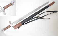 Épée Templière de Frappe forgée  avec fourreau cuir