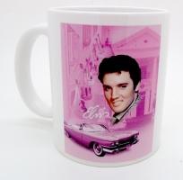 Mug Elvis Presley fond rose