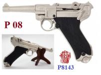 Réplique  Pistolet  LUGER  P08 Parabellum   Version Nikelé  * 25.5 cm  *