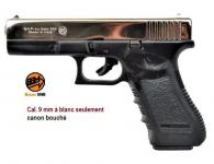 Pistolet Gap, réplique du Glock 17  Chromé Cal 9 mm à blanc uniquement