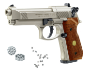 Beretta M92 FS  NICKELE - BOIS  Cal. 4.5 mm Plombs diabolo