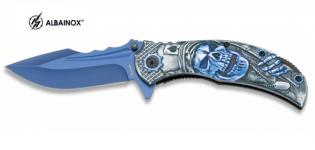 Couteau Pliant Crane bleu 3D   Lame de 9 cm