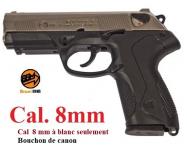 Pistolet à blanc  Mod. P4  Nickelé Chrome  Cal. 8mm