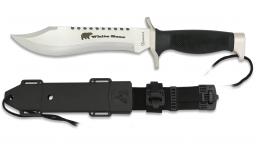 Couteau Tactical  WHITE BEAR   chrome et Noir avec étui pour ceinture