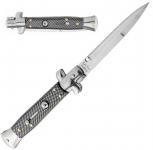Couteau pliant Automatique Damier Noir  Lame de 10 cm