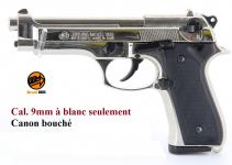 Pistolet BERETTA  Nickelé Chrome à blanc   Mod 92  Cal. 9mm PAK